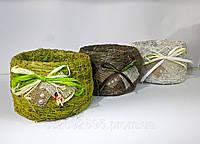 """Кашпо """"бочка"""" малое солома зеленый"""