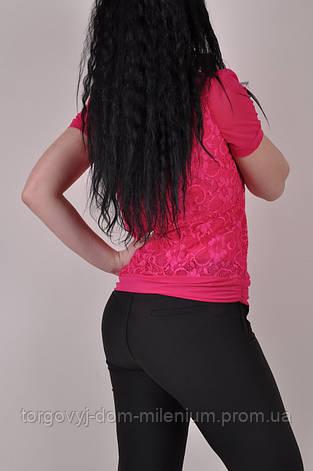 Футболка комбинированная женская стрейчевая (цвет розовый) LQSD 8828 Размер:46, фото 2