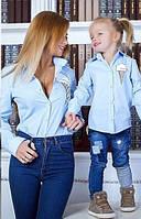 Детская  рубашка Рожок (набор мама+дочка)
