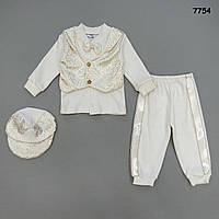 Нарядный костюм на выписку для мальчика. 56 см (0-3 мес)