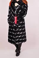 Шуба из меха бобра со вставками норки женская рукав 3/4 объем 110 длина 110 Lilifur 151C Размер:48