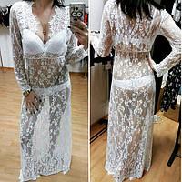 Женский халатик-платье Rouz, халат полностью кружевной, длинный. Разные цвета, размеры., фото 1