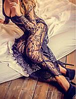 Женский халатик-платье черное Rouz, халат полностью кружевной, длинный., фото 1