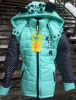 Куртка -жилетка для девочки цвет мятный