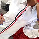 Женская коттоновая белая рубашка туника в полоску тренд 2017 года
