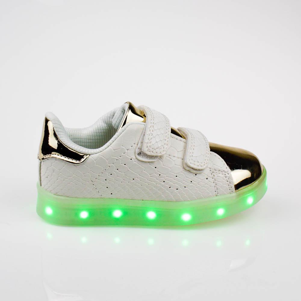 LEd кроссовки на липучках белые с золотым носком 303-1