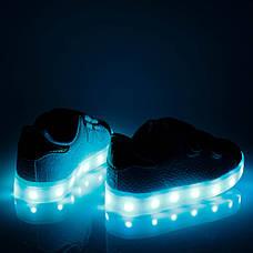 LEd кроссовки на липучках белые с золотым носком 303-1, фото 2