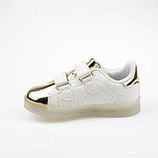 LEd кроссовки на липучках белые с золотым носком 303-1, фото 3