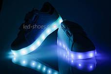 LEd кроссовки на липучках белые с синим  404-9, фото 2