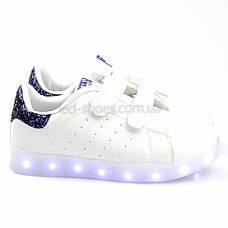LEd кроссовки на липучках белые с синим 404-9, фото 3
