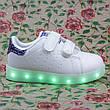 LEd кроссовки на липучках белые с синим  404-9, фото 4