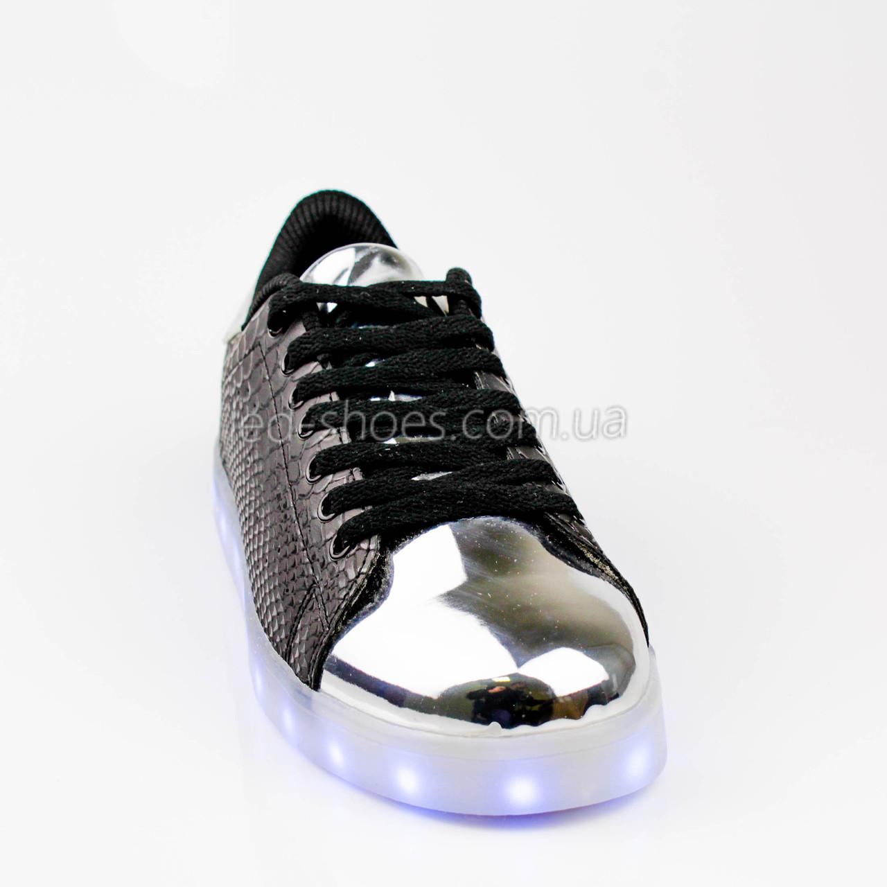 LEd кроссовки на шнурках черные с серебряным носком 304-2