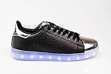 LEd кроссовки на шнурках черные с серебряным носком 304-2, фото 3