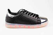 LEd кроссовки на шнурках черные с серебряным носком 304-2, фото 2