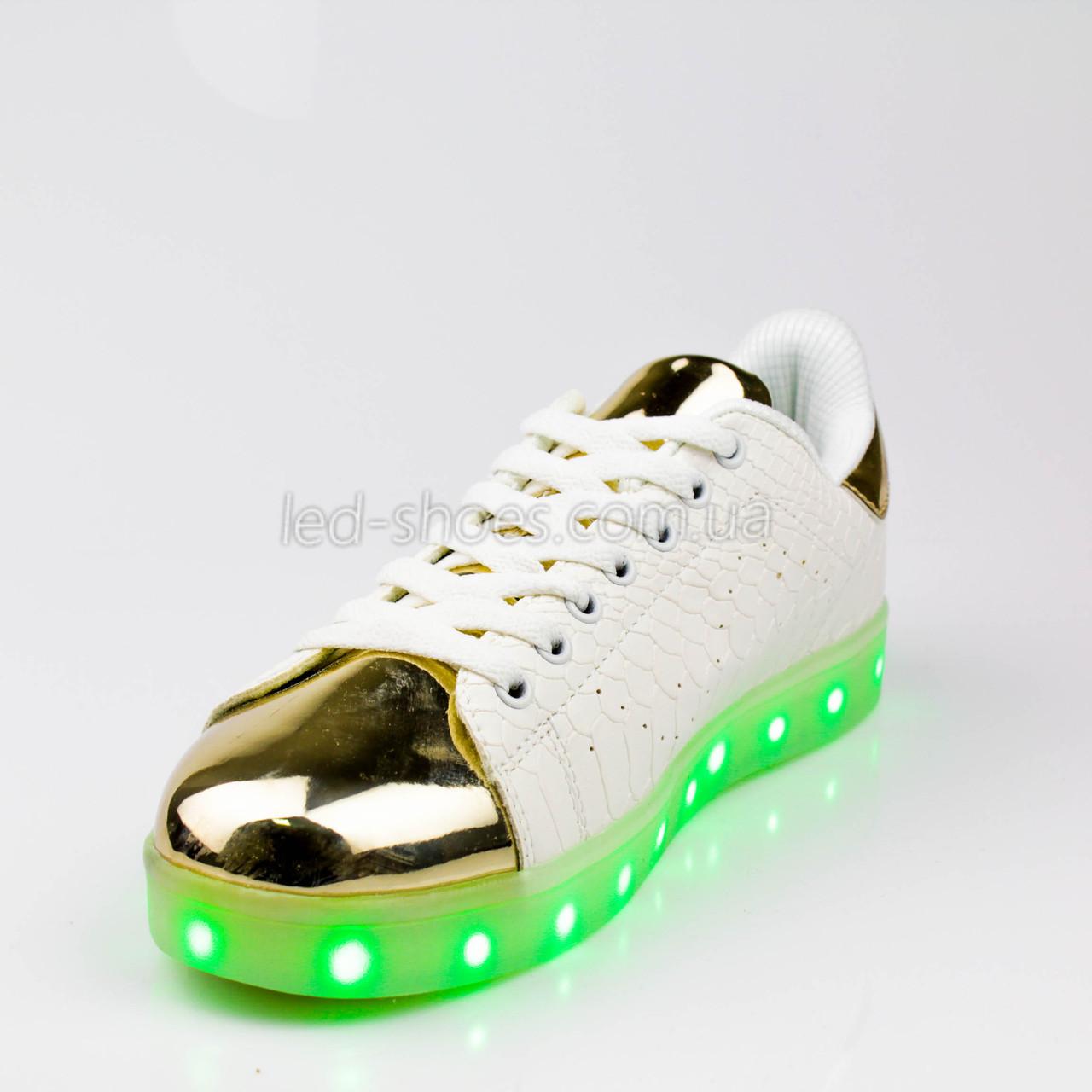 LEd кроссовки на шнурках белые с золотым носком 304-1