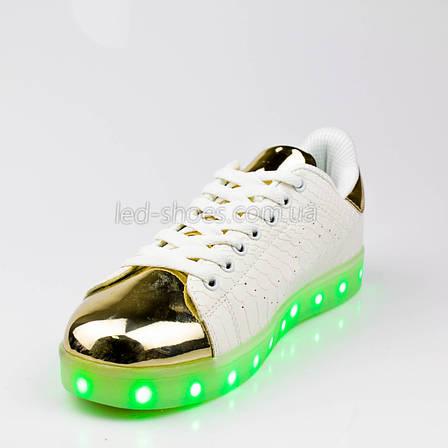 LEd кроссовки на шнурках белые с золотым носком 304-1, фото 2