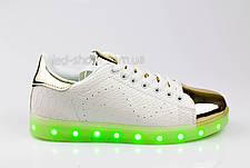 LEd кроссовки на шнурках белые с золотым носком 304-1, фото 3