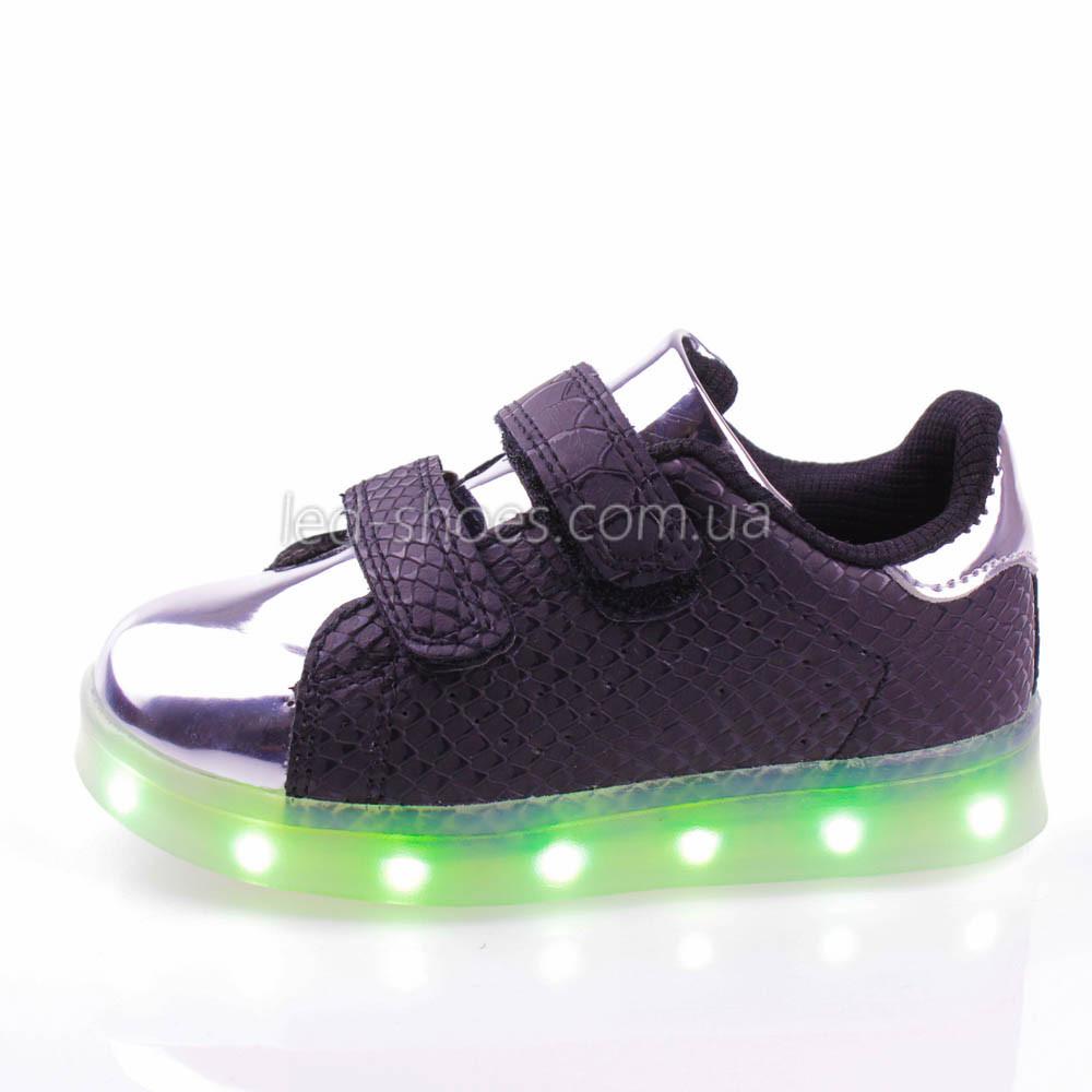 LEd кроссовки на липучках черные с серебряным носком 303-2