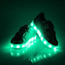 LEd кроссовки на липучках черные с серебряным носком 303-2, фото 2