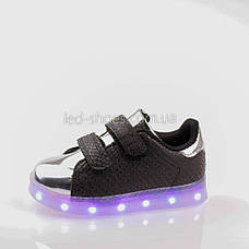 LEd кроссовки на липучках черные с серебряным носком 303-2, фото 3