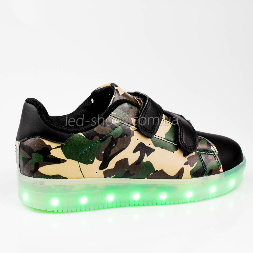 LEd кроссовки на липучках зеленые хаки 305-10
