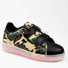LEd кроссовки на липучках зеленые хаки 305-10, фото 2