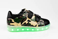 LEd кроссовки на липучках зеленые хаки 305-10, фото 3