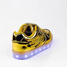 Led кроссовки золотые с крыльями 307-4, фото 2