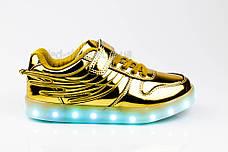 Led кроссовки золотые с крыльями 307-4, фото 3