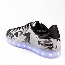 LEd кроссовки на шнурках серые хаки 306-8, фото 2