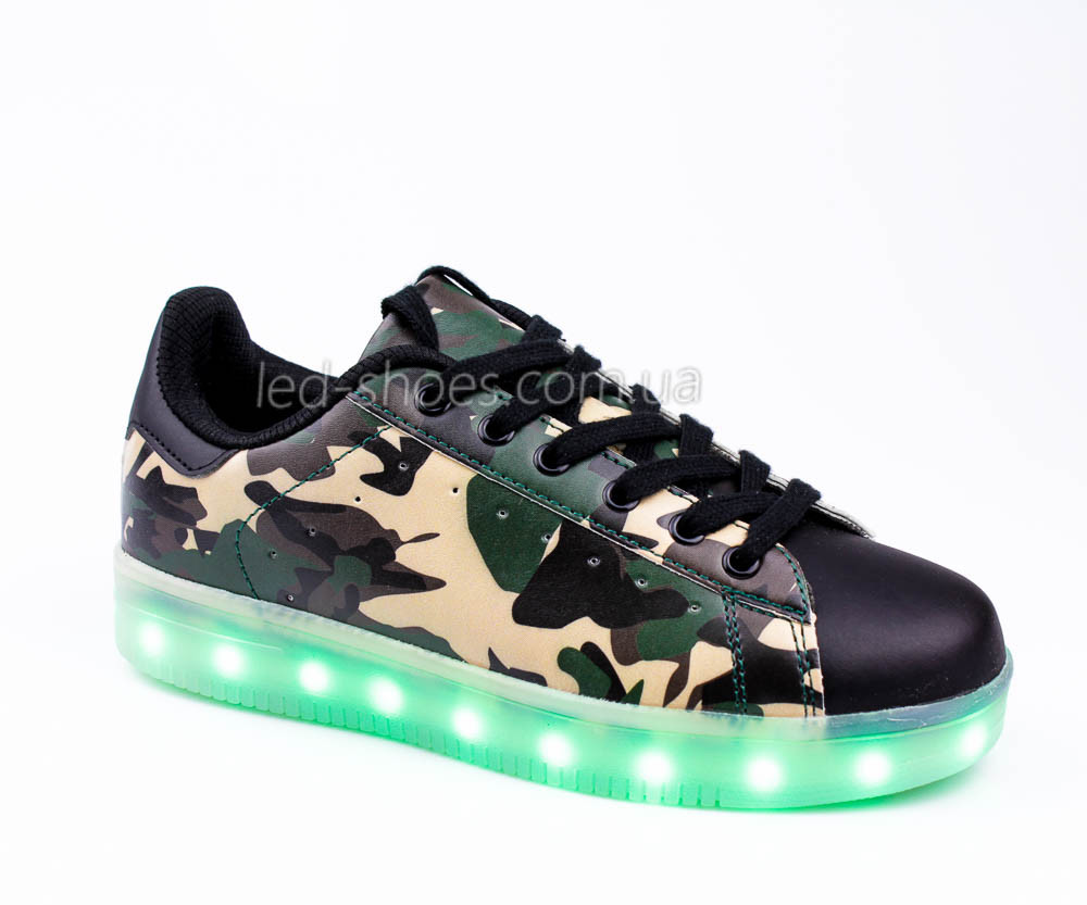 LEd кроссовки на шнурках зеленые хаки 306-10