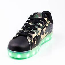 LEd кроссовки на шнурках зеленые хаки 306-10, фото 3