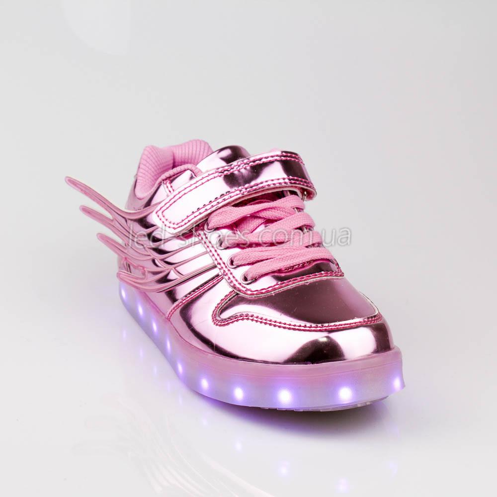 Led кроссовки розовые с крыльями 307-3