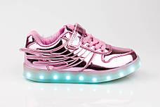 Led кроссовки розовые с крыльями 307-3, фото 3