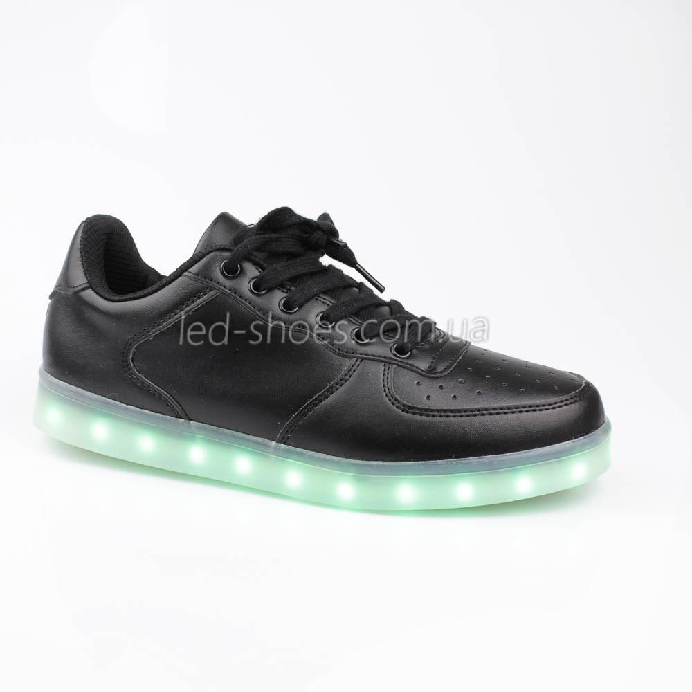 LEd кроссовки на шнурках черные 302-2