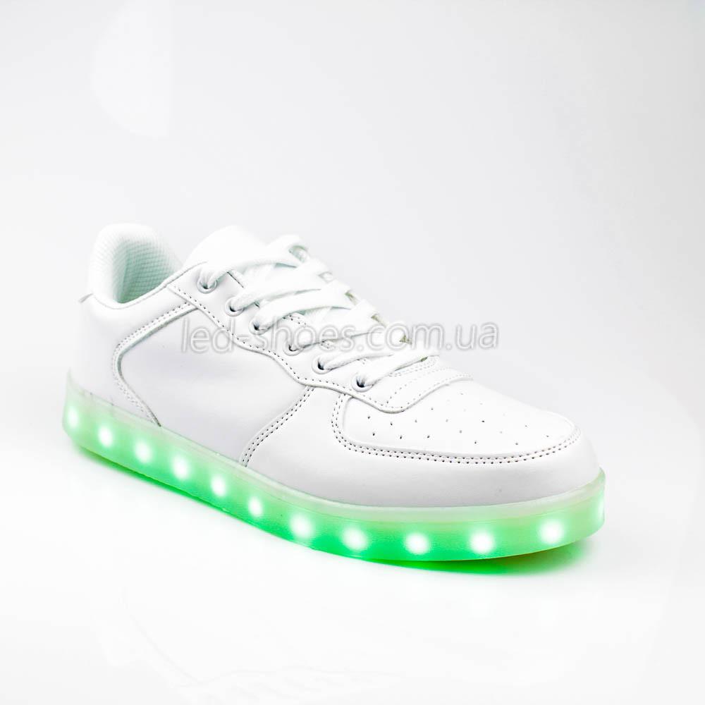 Светящиеся кроссовки на шнурках белые 302-1