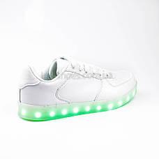 Светящиеся кроссовки на шнурках белые 302-1, фото 2