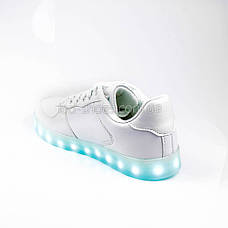 Светящиеся кроссовки на шнурках белые 302-1, фото 3