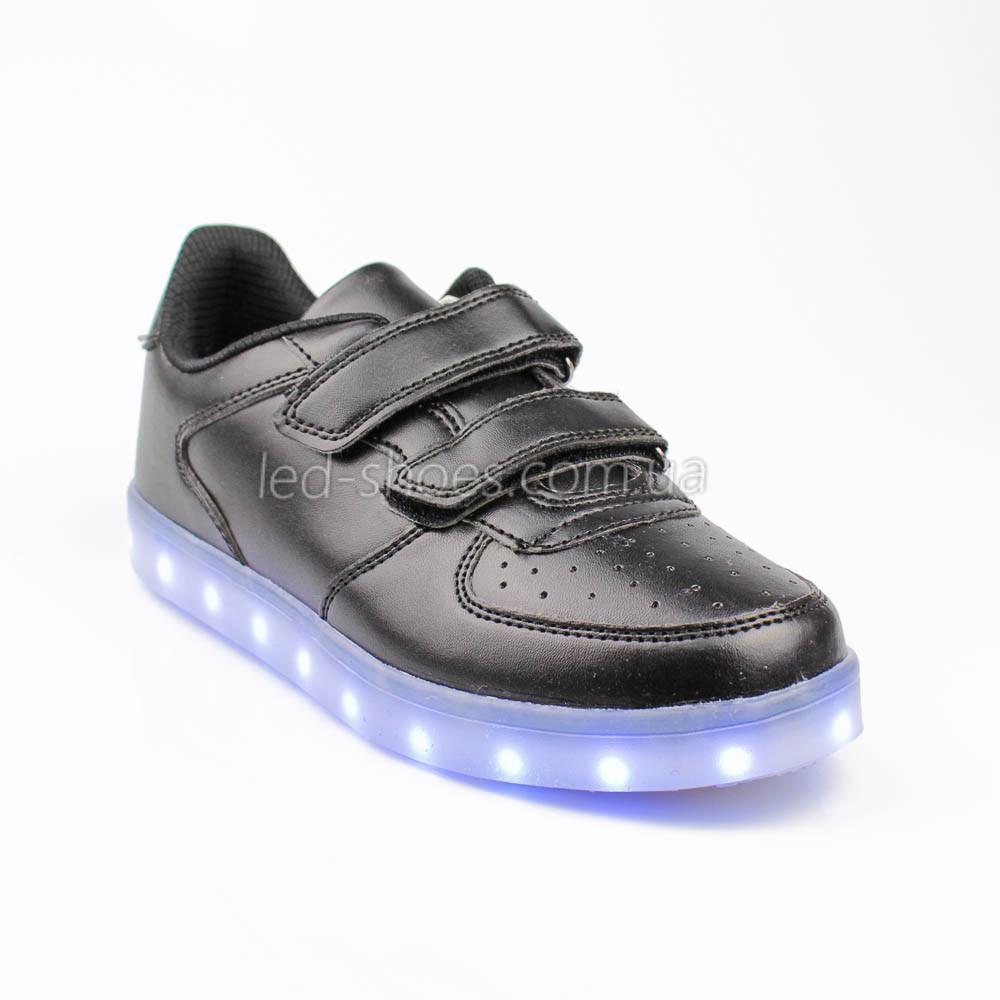 LEd кроссовки на липучках черные 301-2