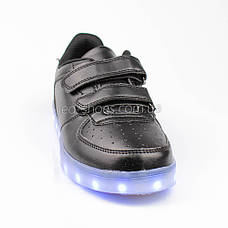 LEd кроссовки на липучках черные 301-2, фото 3