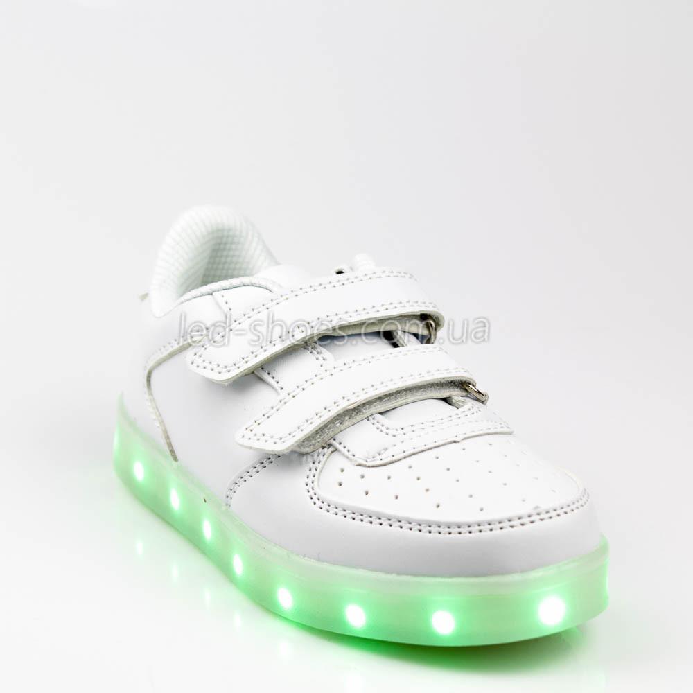 Светящиеся кроссовки на липучках белые 301-1
