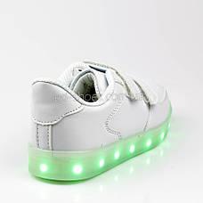 Светящиеся кроссовки на липучках белые 301-1, фото 2