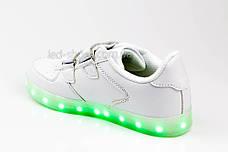 Светящиеся кроссовки на липучках белые 301-1, фото 3