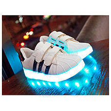 Светящиеся кроссовки LED Superstar на липучках бело-черные 5108-2, фото 3
