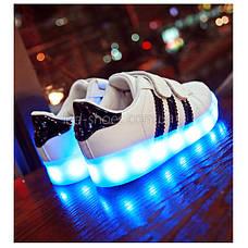 Светящиеся кроссовки LED Superstar на липучках бело-черные 5108-2, фото 2