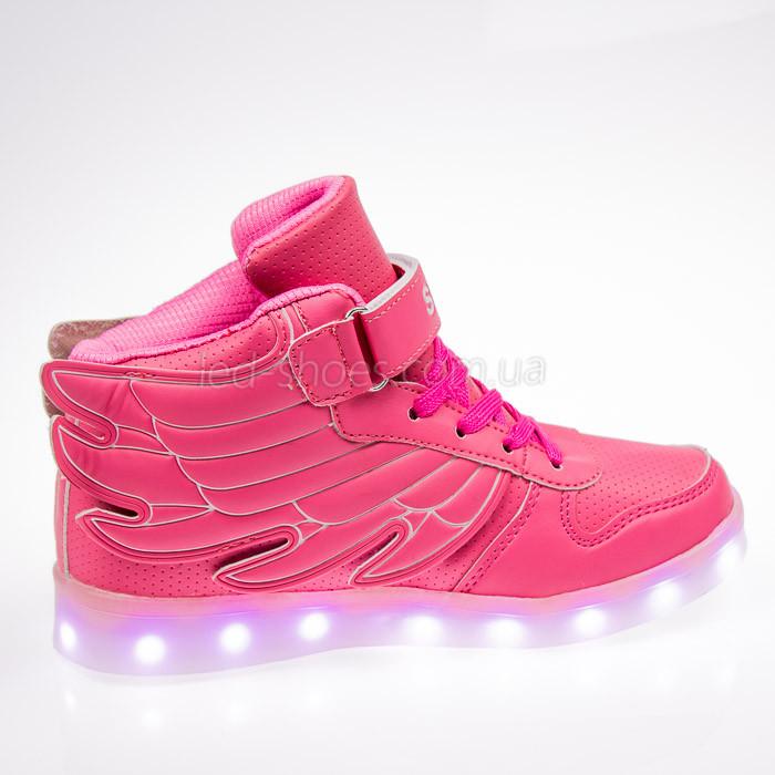 Led кроссовки розовые с крыльями 101-3