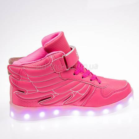Led кроссовки розовые с крыльями 101-3, фото 2