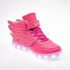 Led кроссовки розовые с крыльями 101-3, фото 3