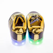 Led кроссовки Superstar черные золотые полоски 102-2, фото 2