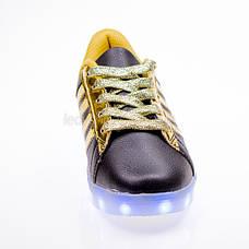 Led кроссовки Superstar черные золотые полоски 102-2, фото 3